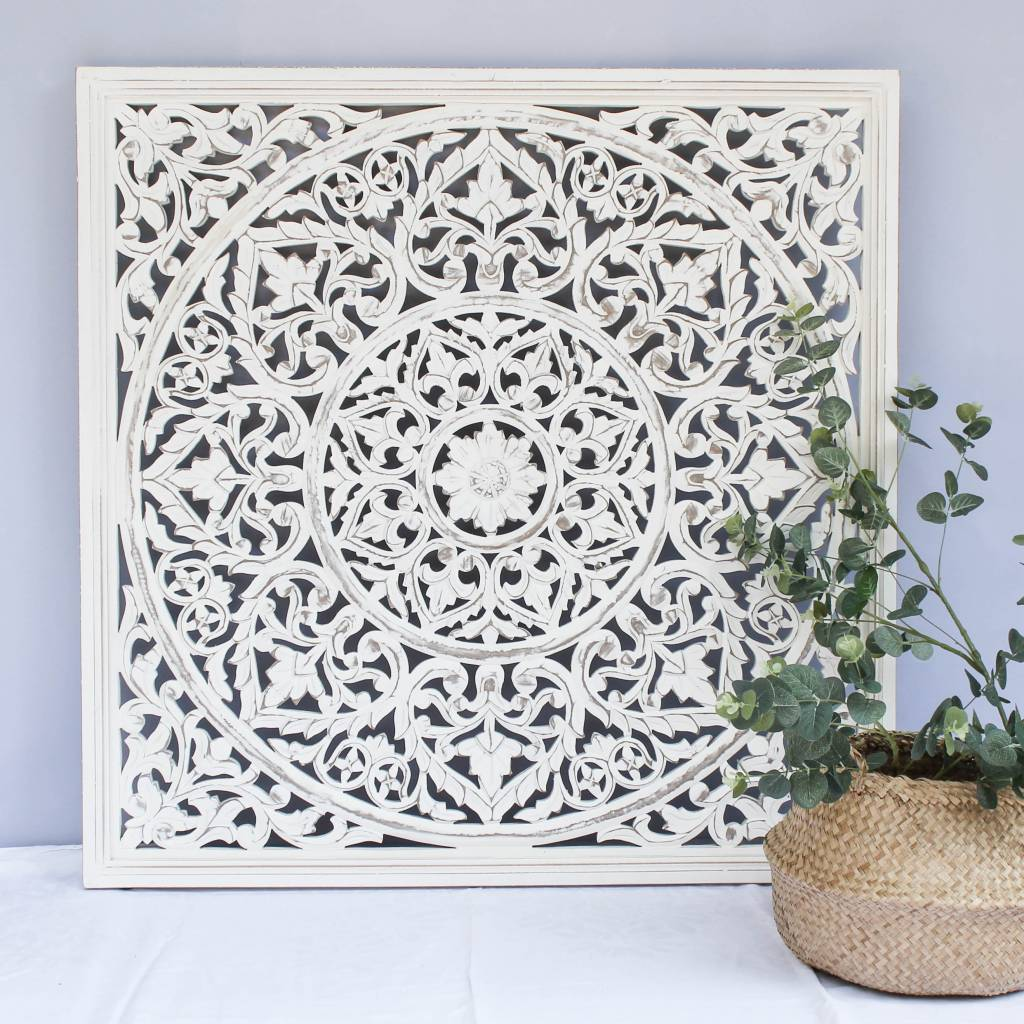 Handcarved wall decoration BLOSSOM antique white