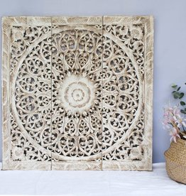 simply pure Hand carved wall panel Design SOLINO antique white