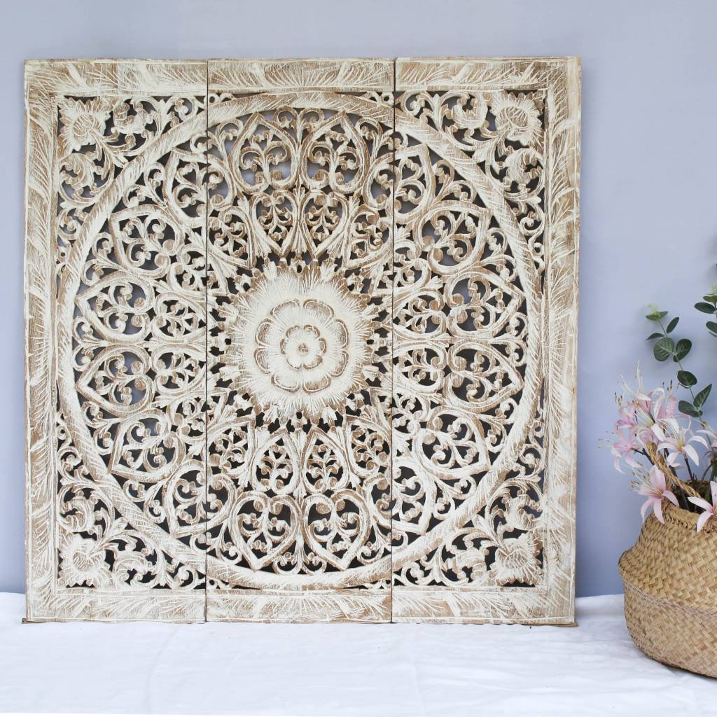 simply pure Hand carved wall panel Design SOLINO, antique white, several sizes