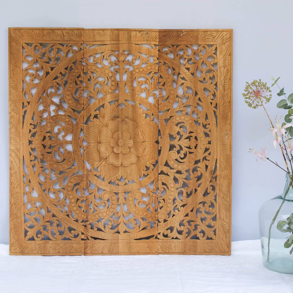 simply pure Hand carved wall panel Design ORNAMENTO, colour: natural teak, different sizes