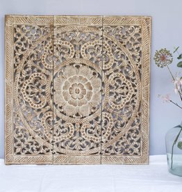 simply pure Hand carved wall panel Design ORNAMENTO, colour: whitewash, different sizes
