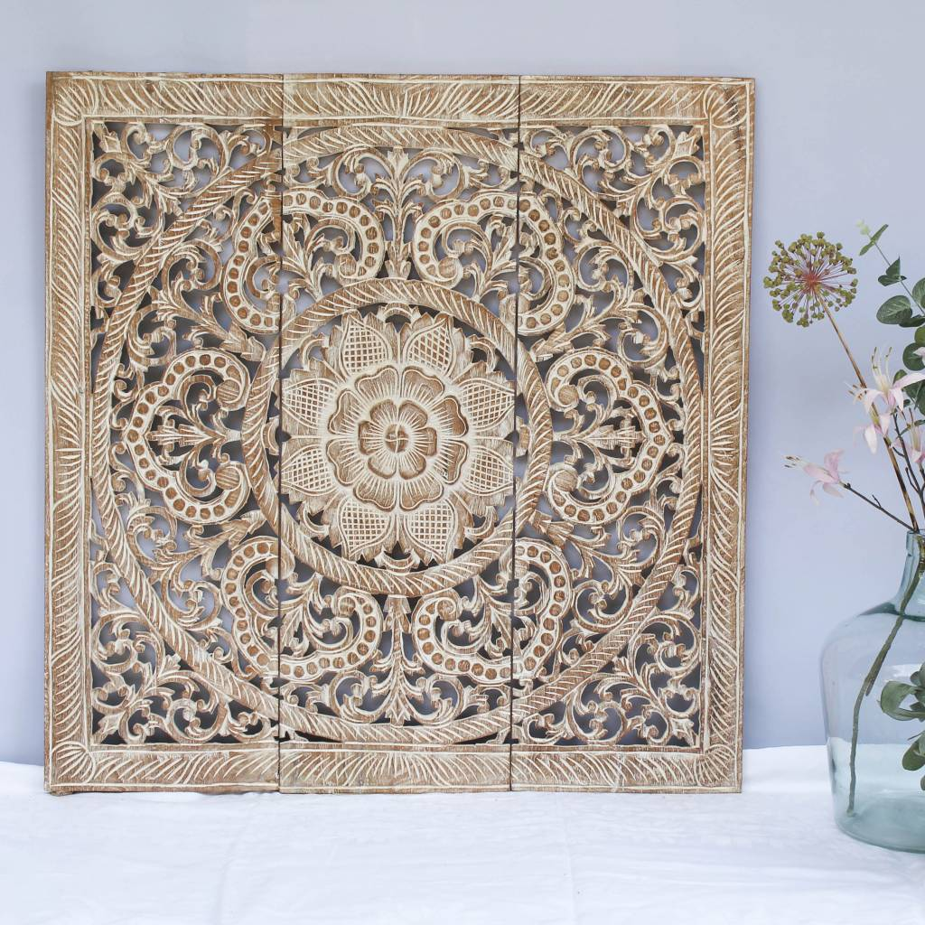 Hand carved wall panel Design ORNAMENTO, colour: whitewash, different sizes
