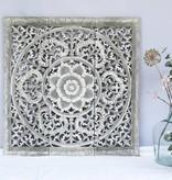 Handgesneden wandpaneel Design ORNAMENTO, kleur: greywash, verschillende afmetingen