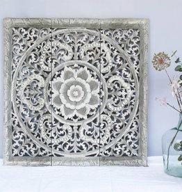 Geschnitzte Wandpaneele Design ORNAMENTO, Farbe: greywash, verschiedene Abmessungen