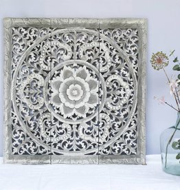 simply pure Hand carved wall panel Design ORNAMENTO, colour: greywash, different sizes