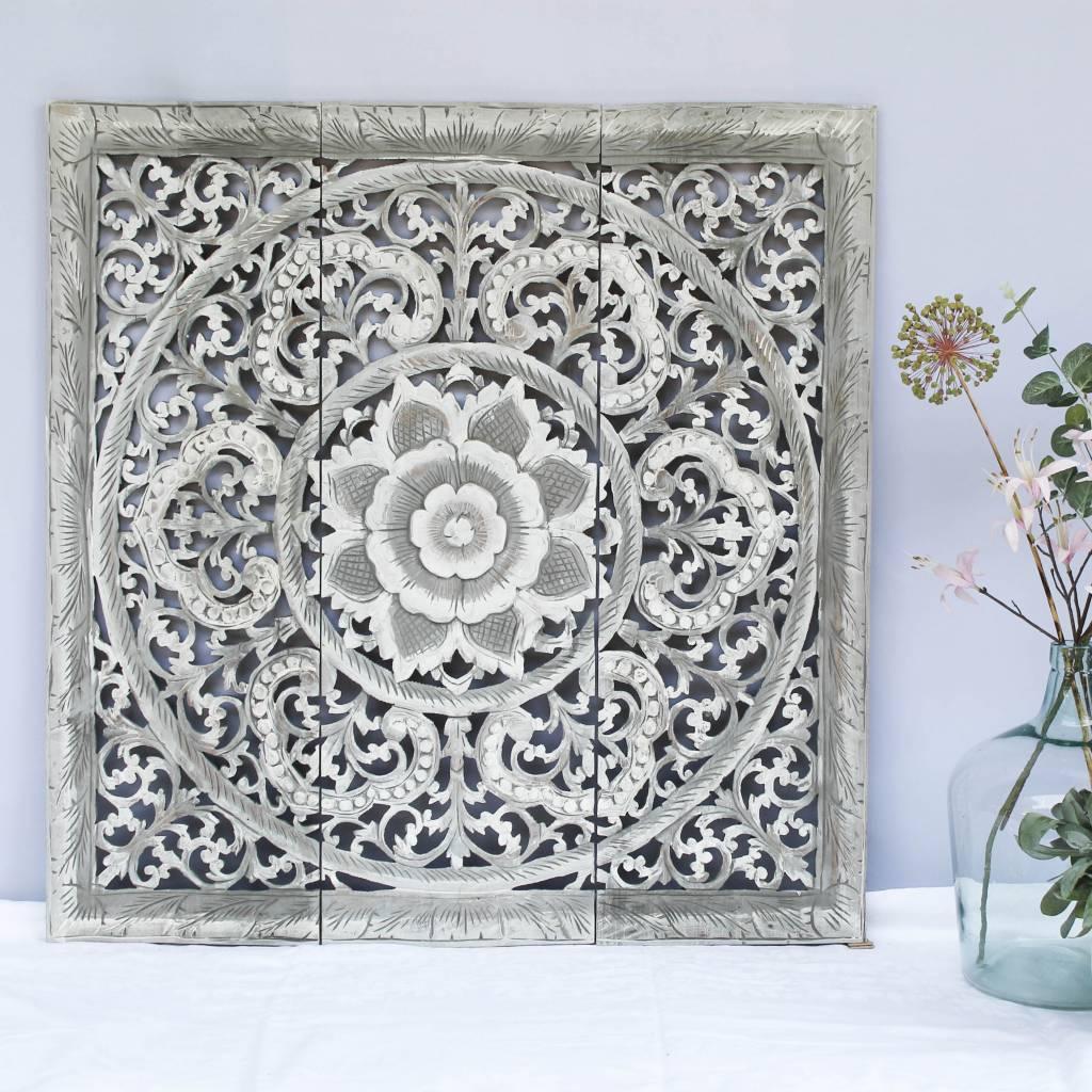 simply pure Handgeschnitztes Wandpaneel Design ORNAMENTO, Farbe: greywash, verschiedene Abmessungen