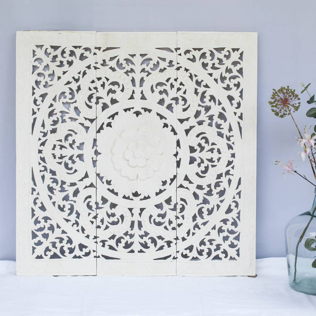 Handgeschnitzte Wandpaneele Design ORNAMENTO, Farbe: weiss, verschiedene Abmessungen