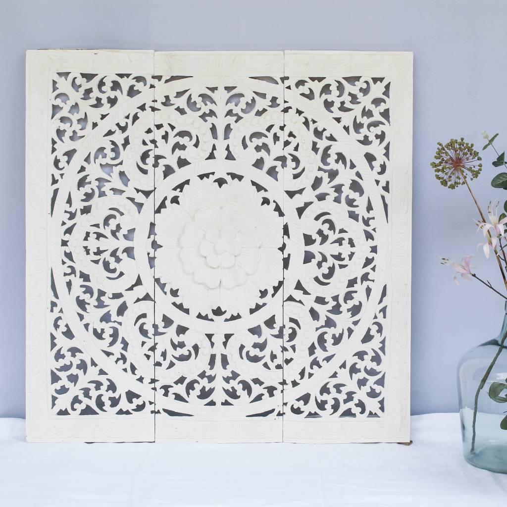 simply pure Handgesneden wandpaneel Design ORNAMENTO, kleur: wit, verschillende afmetingen