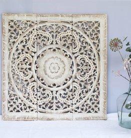 Handgeschnitzte Wandpaneele Design ORNAMENTO, Farbe: antikweiss, verschiedene Abmessungen
