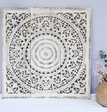 Hand carved wall panel Design SOLE antique white, several sizes