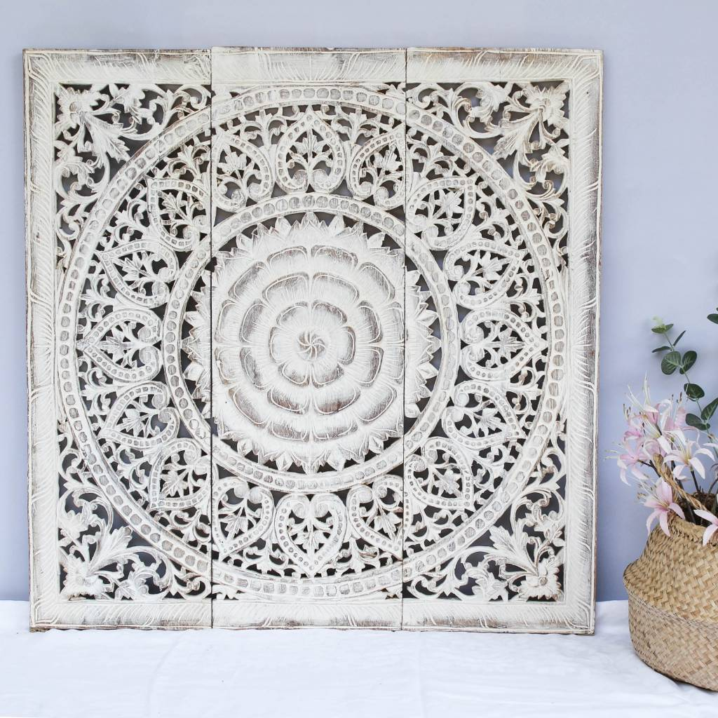 simply pure Hand carved wall panel Design SOLE antique white, several sizes