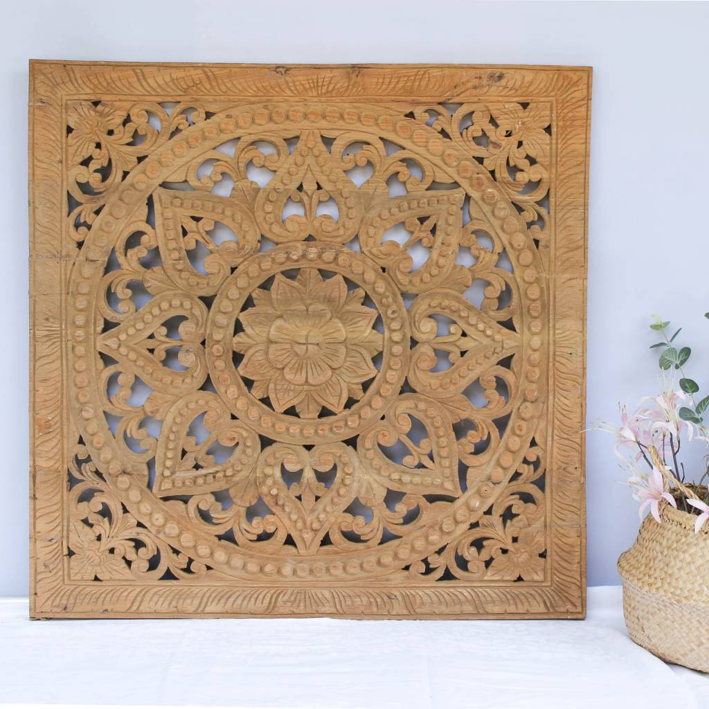 simply pure Handgesneden houtsnijwerk wandpaneel Design SOLE Kleur: Naturel, verschillende afmetingen