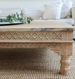 simply pure Teak coffee table with hand carved accents ( custom made)