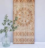 Geschnitzte Wandpaneele NEW TIMOR, langes Format( 150x60 cm), Farbe: Natur/Weiss