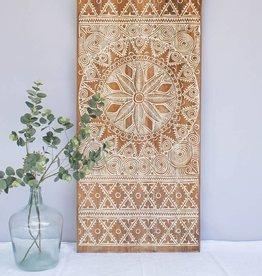 Geschnitzte Wandpaneele NEW TIMOR, langes Format ( 150x60 cm) naturfarben weiss