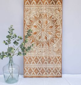 Hand carved wall panel NEW TIMOR, long version ( 150x60 cm)  natural white