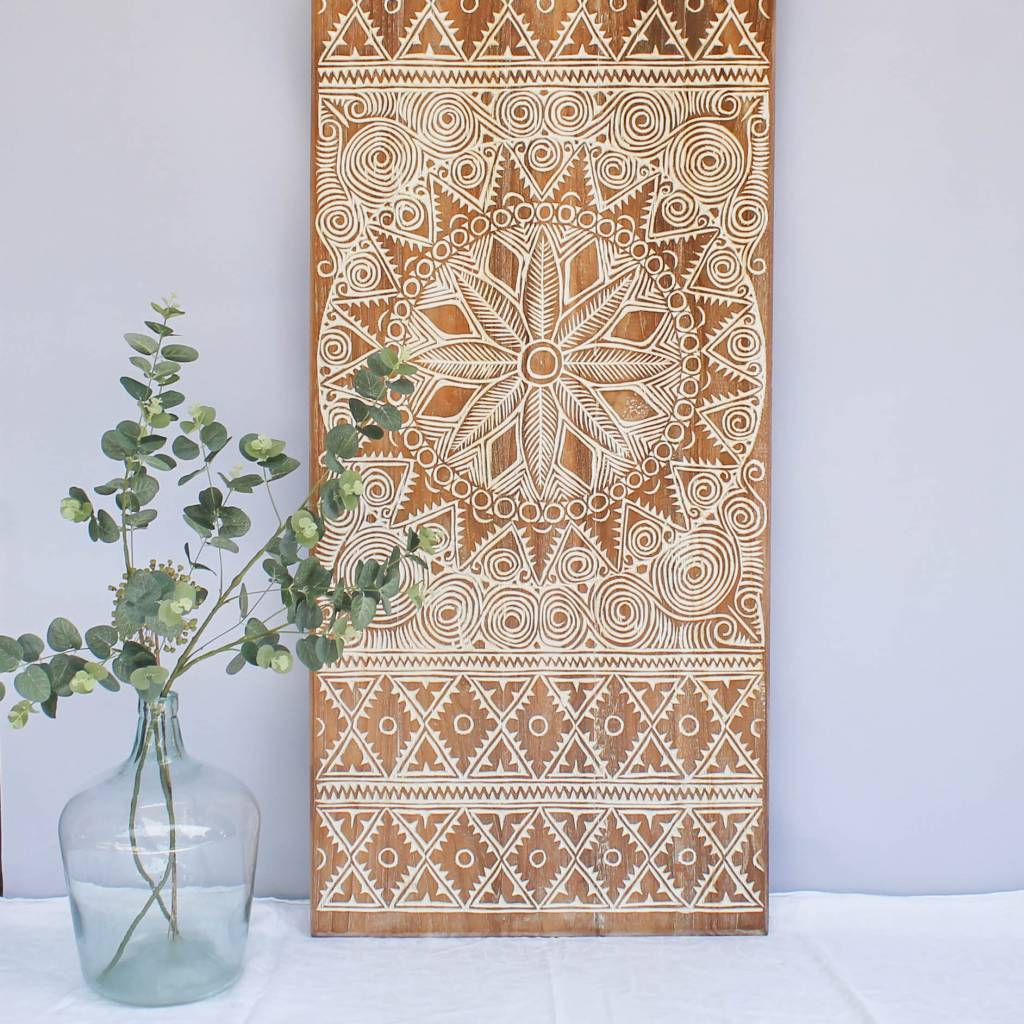 simply pure Hand carved wall panel NEW TIMOR, long version ( 150x60cm), colour: natural white