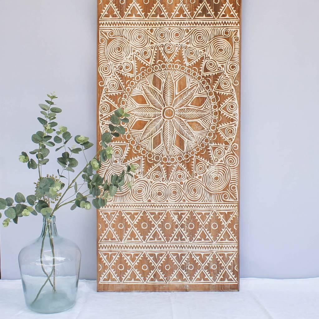 simply pure Houtsnijwerk wandpaneel NEW TIMOR, langwerpig ( 150x60 cm), kleur: natural white