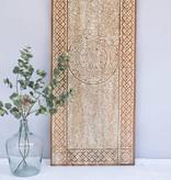 Houtsnijwerk wandpaneel TIMOR, langwerpig ( 150x60 cm), kleur: natural white