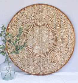 simply pure Hand carved wall panel TIMOR, round ( various sizes)