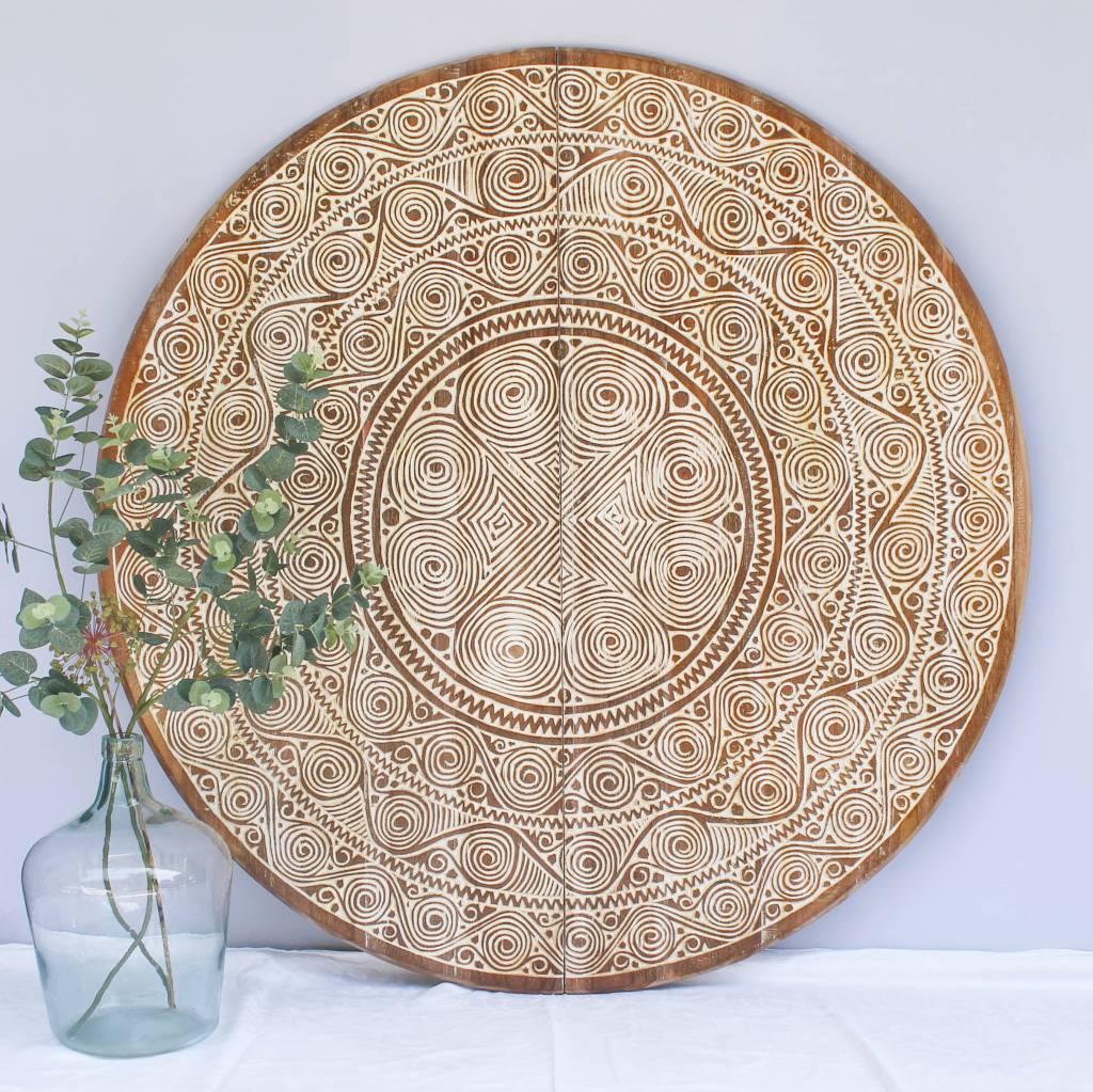 Handgeschnitzte Wandpaneele TIMOR, rund ( verschiedene Durchmesser, Farbe: Natur/Weiss - Copy