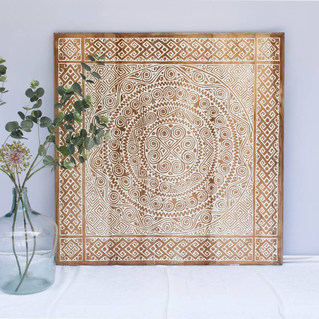 simply pure Hand carved wall panel TIMOR, square ( different sizes), colour: natural white