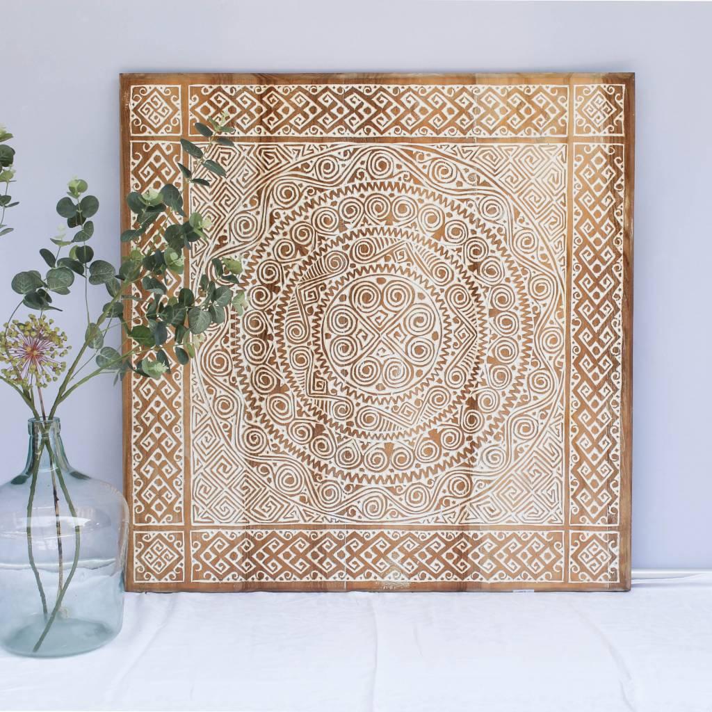 simply pure Houtsnijwerk wandpaneel TIMOR, vierkant ( verschillende afmetingen), kleur: natural white