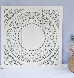 Hand carved wall panel Design SOLE white