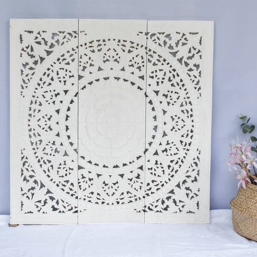 simply pure Hand carved wall panel Design SOLE white, several sizes