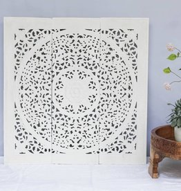 Hand carved wall panel LOTO white