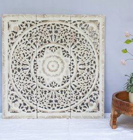 Houtsnijwerk wandpaneel LOTO antiek wit