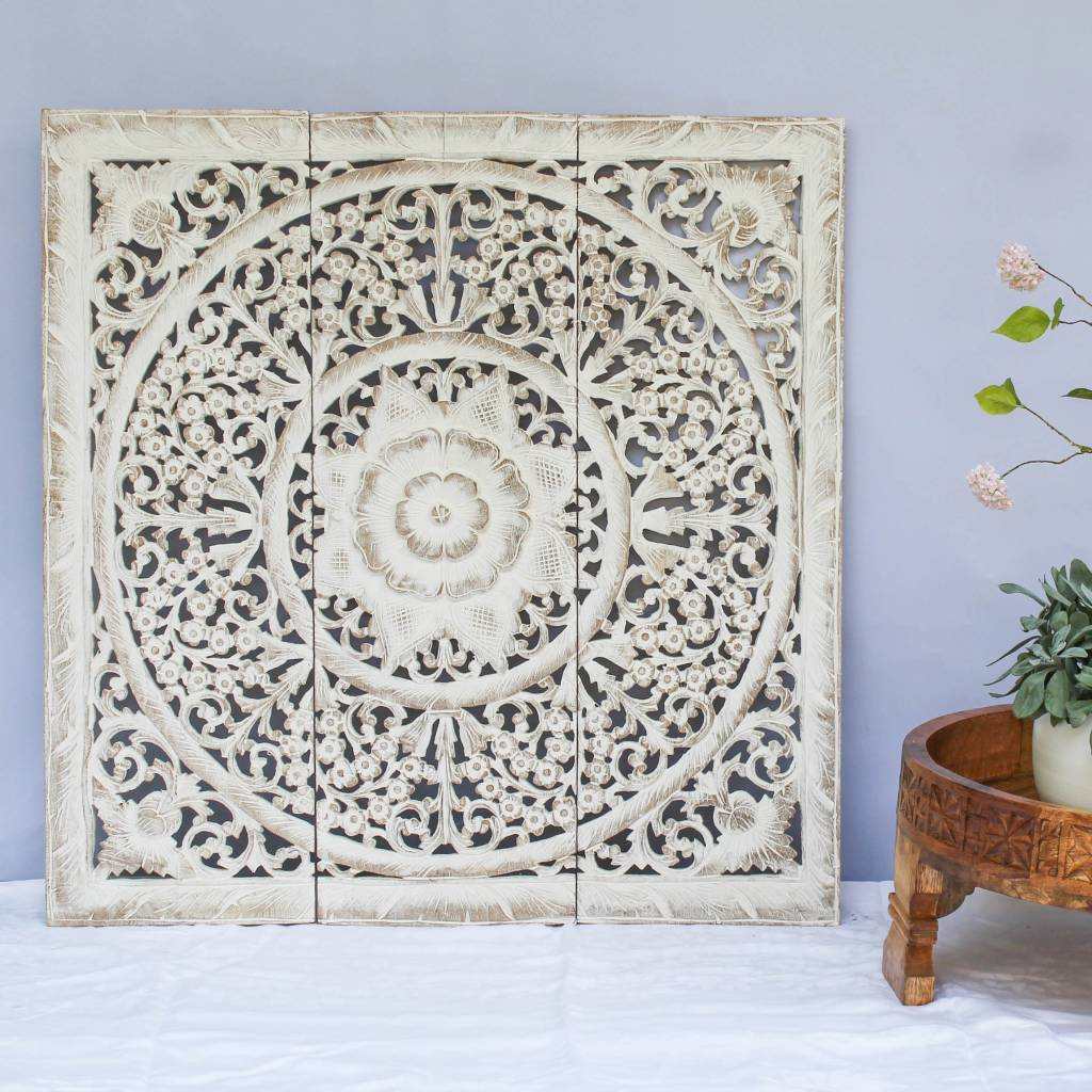 simply pure Houtsnijwerk wandpaneel Design LOTO Kleur: antiek wit, verschillende afmetingen