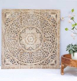 Hand carved wall panel Design LOTO white wash
