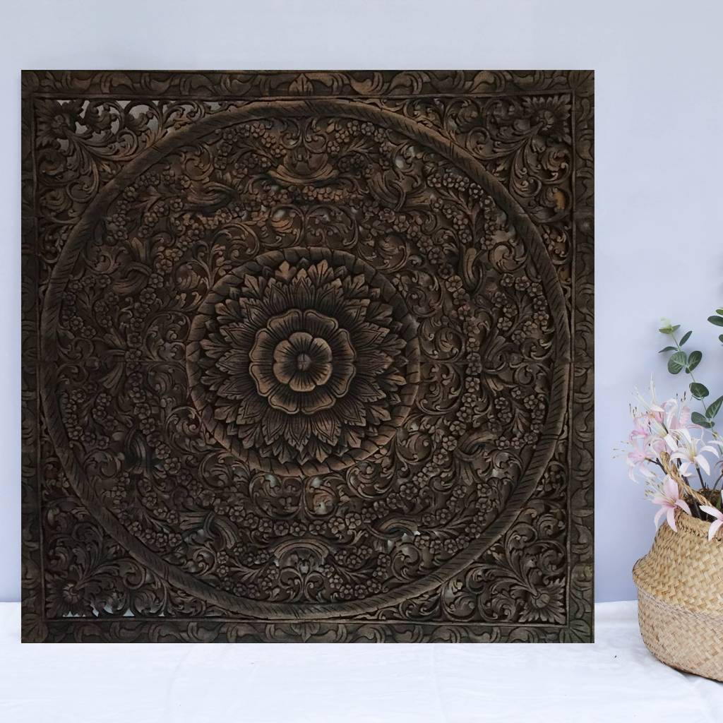 simply pure Hand carved wall panel Design LOTO antique black, different sizes available
