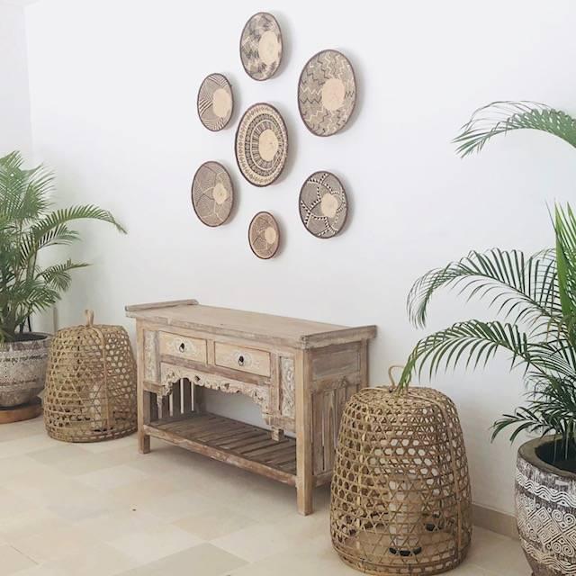 Handgemaakte binga manden sets uit Zimbabwe als wanddecoratie