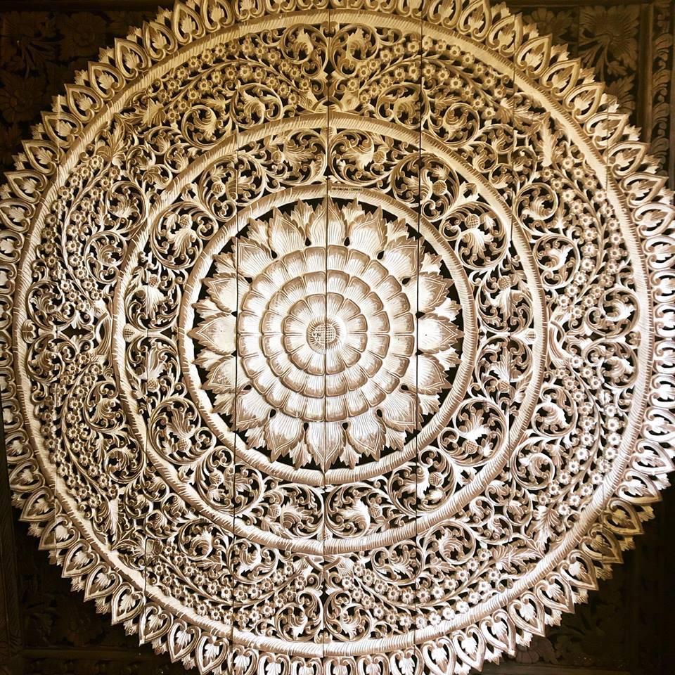 simply pure Geschnitzte Wandpanele aus Holz Design LOTO RONDO, verschiedene Abmessungen und Farben