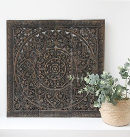 Hand carved wall panel Design SOLINO antique black