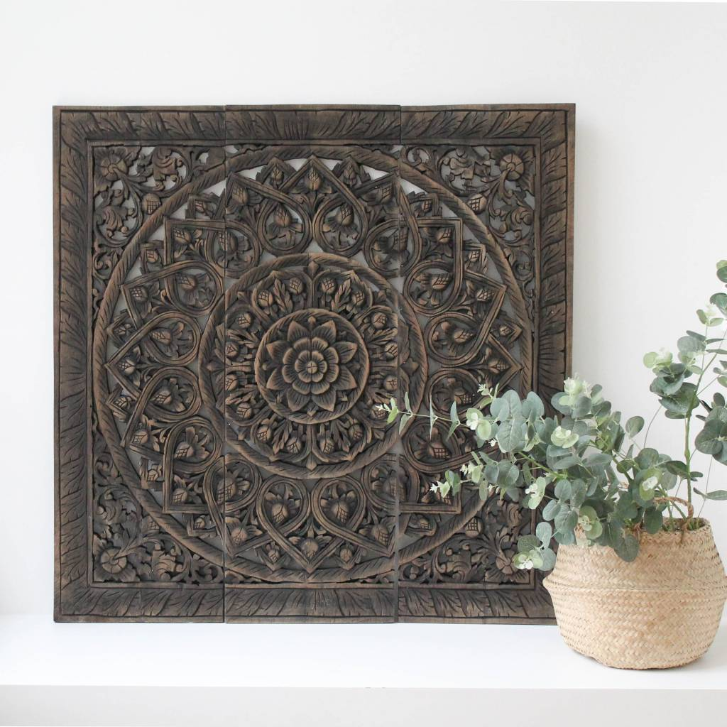 simply pure Hand carved wall panel Design SOLINO, antique black, several sizes