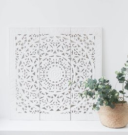 Hand carved wall panel Design SOLINO white