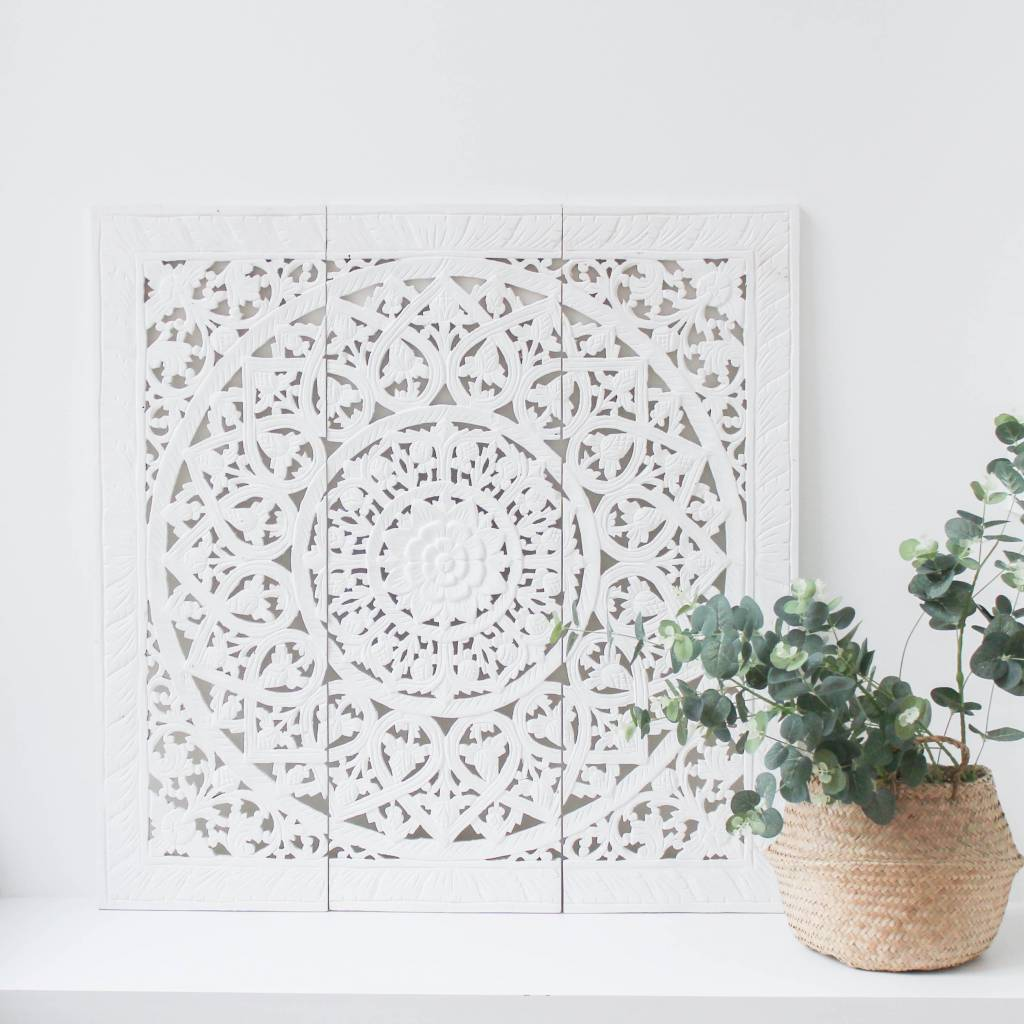 simply pure Hand carved wall panel Design SOLINO, white, several sizes
