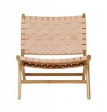 simply pure Handgemaakt lounge stoel MARLO ( Teak & leer)