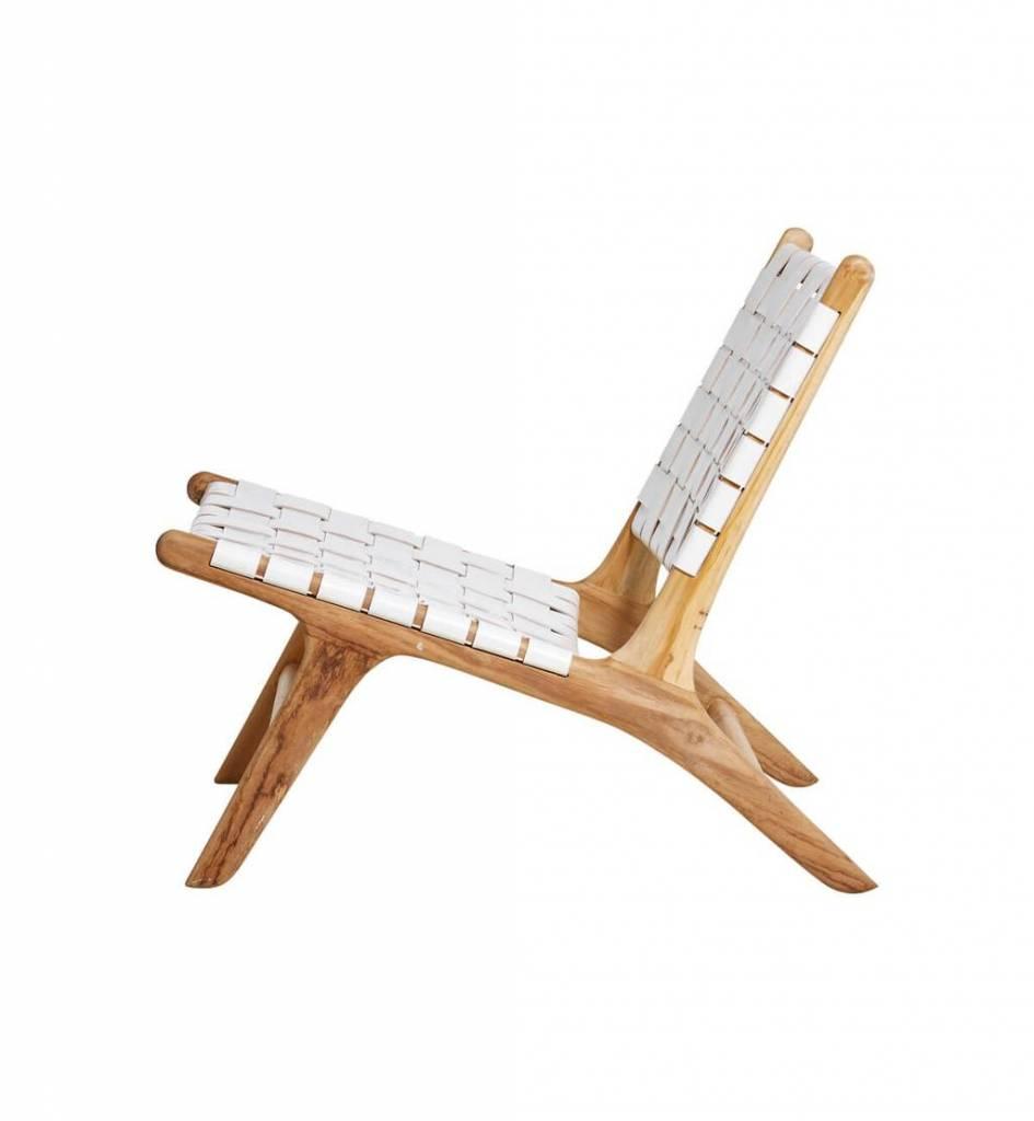 Handgefertigter Lounge-Stuhl MARLO ( Teak & Leder)