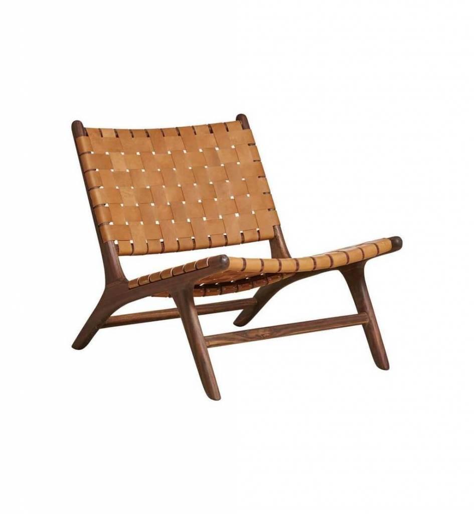 Leren Lounge Fauteuil.Lounge Stoel Marlo Teak Leer