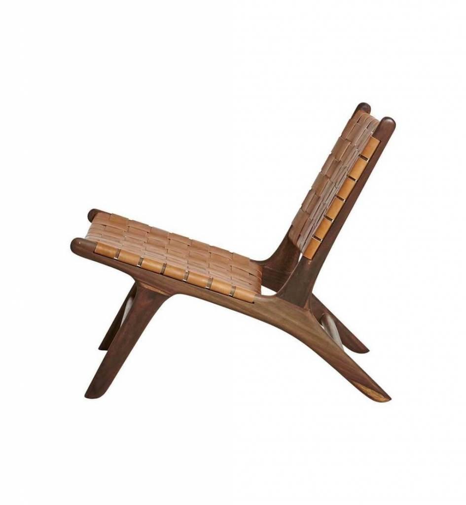 Handgemaakt lounge stoel MARLO ( Teak & leer)