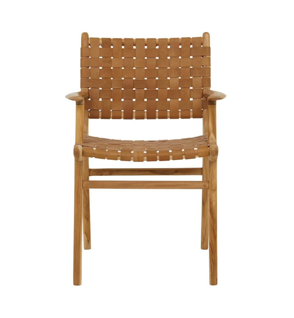 Handcrafted dining chair MARLO ( Teak & leather)