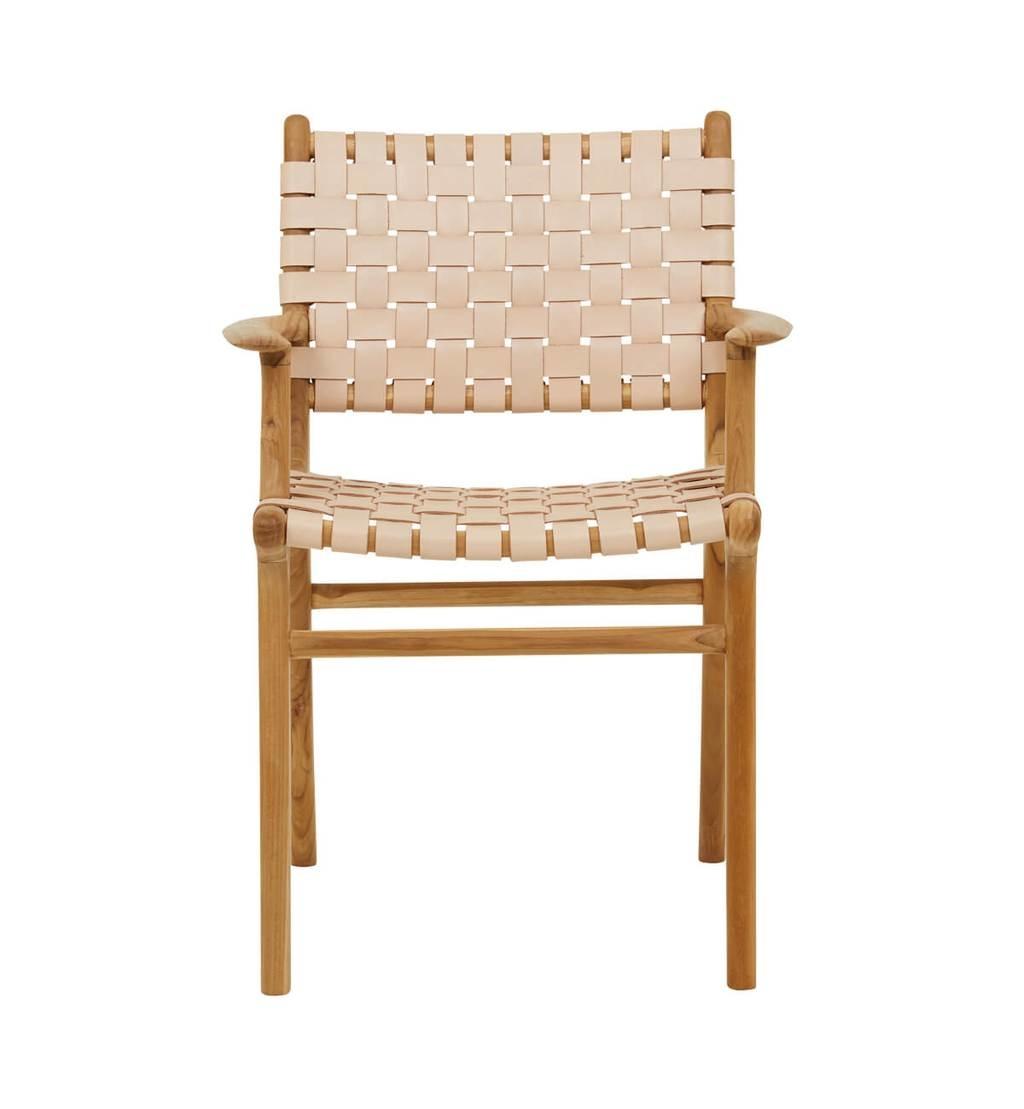 simply pure Handgefertigter Esszimmer-Stuhl MARLO ( Teak & Leder)