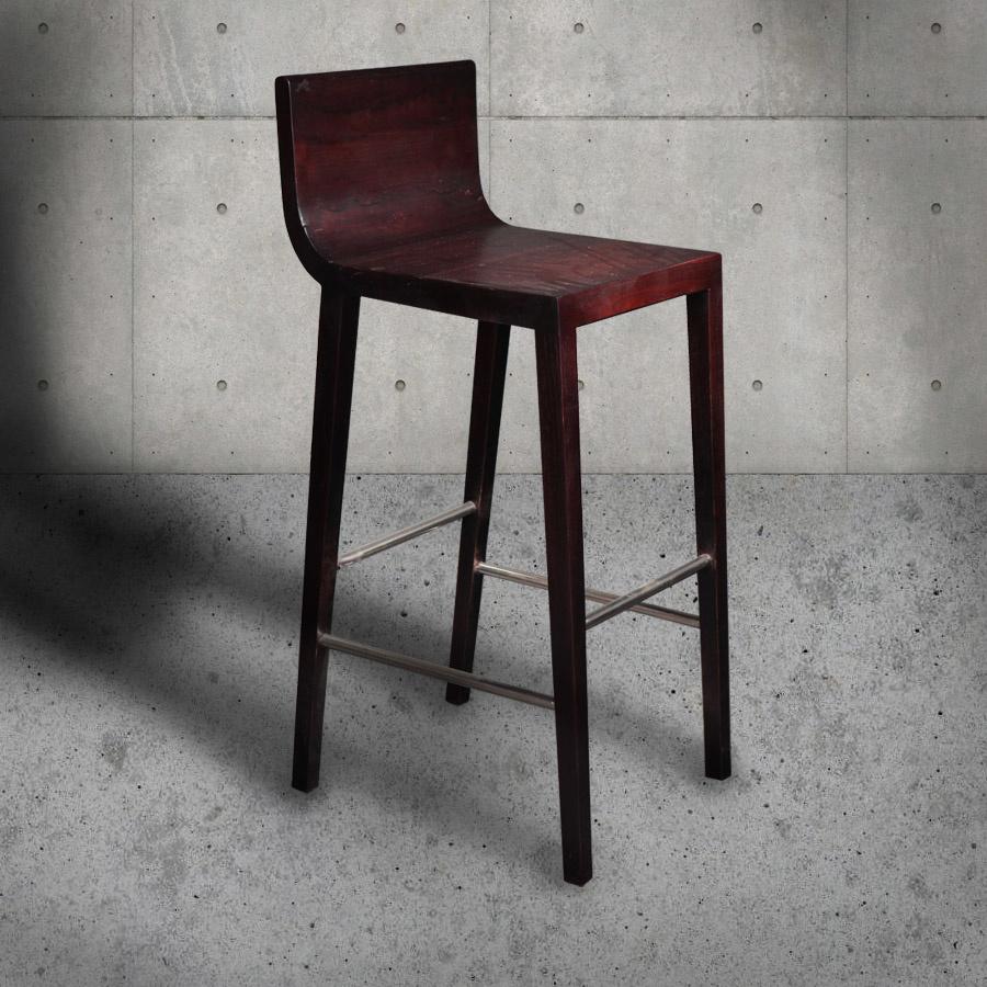 Handgefertigter Teak Bar-Stuhl CHER