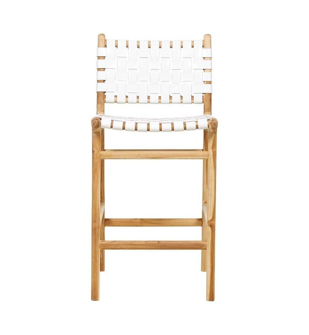 simply pure Handgefertigter Bar-Stuhl MARLO ( Teak & Leder)