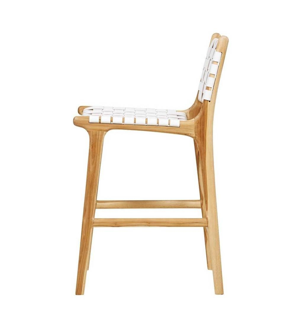 Handcrafted bar chair MARLO ( Teak & leather)