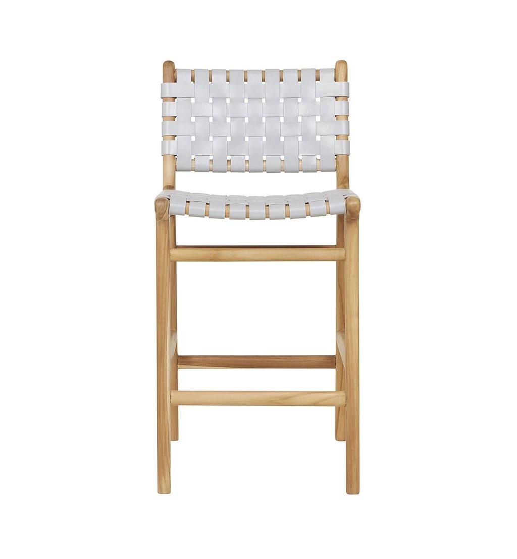 Handgemaakte bar stoel MARLO ( Teak & leer)